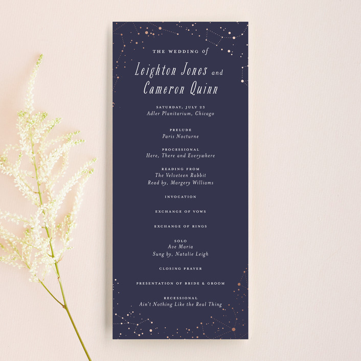 """Starlight"" - Whimsical & Funny Unique Wedding Programs in Blue Violet by Snow and Ivy."