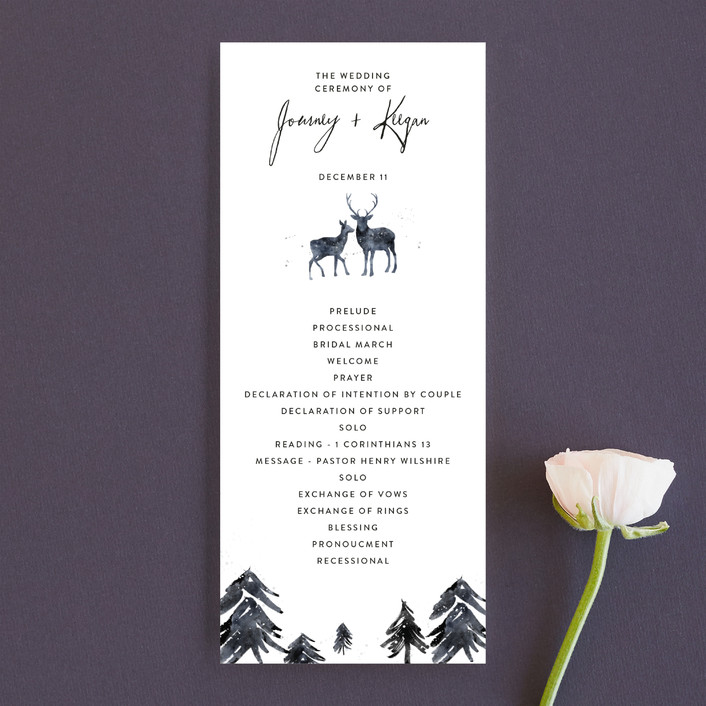 """Winter Deer"" - Rustic Unique Wedding Programs in Ice Mist by Cass Loh."