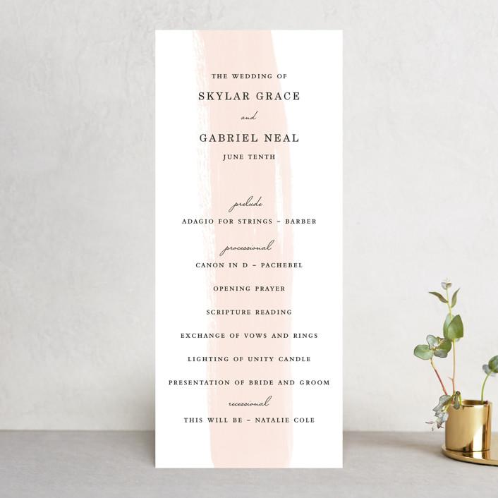 """Single Swath"" - Unique Wedding Programs in Blush by Angela Marzuki."