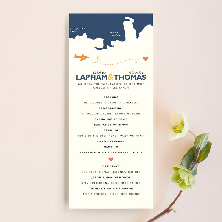 """Two Grooms Destination"" - Destination, Modern Wedding Programs in Denim by leslie hamer."