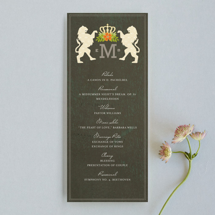 """""""Royal Monogram"""" - Monogrammed, Classical Unique Wedding Programs in Tangerine by Griffinbell Paper Co.."""
