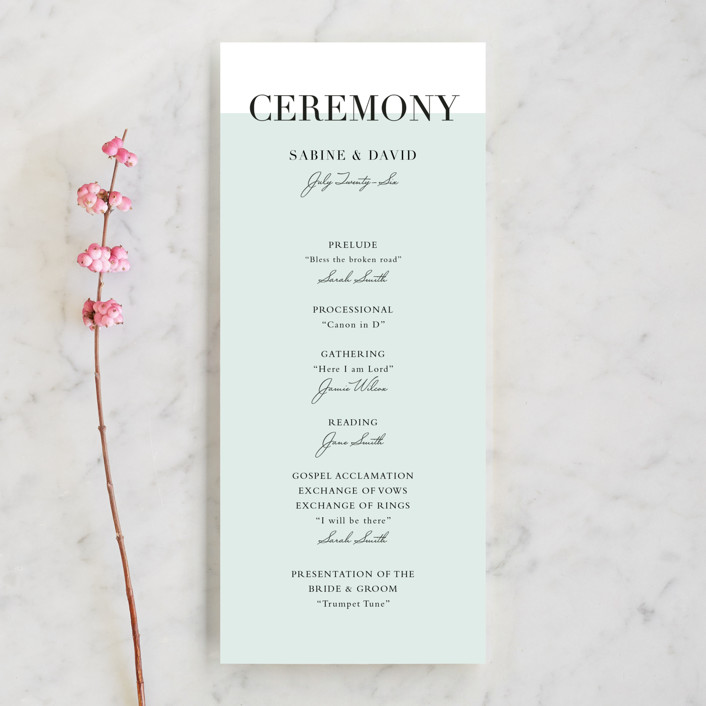 """So Fresh"" - Simple, Modern Unique Wedding Programs in Mint by Stacey Meacham."