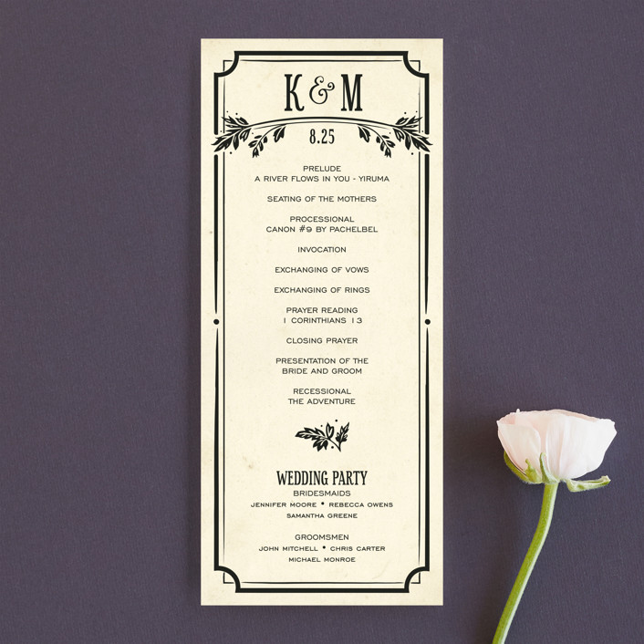 """Inked"" - Hand Drawn, Bold typographic Unique Wedding Programs in Parchment by GeekInk Design."