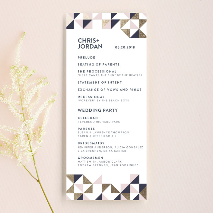 """Lovely Geo"" - Unique Wedding Programs in Midnight by Ana Sharpe."
