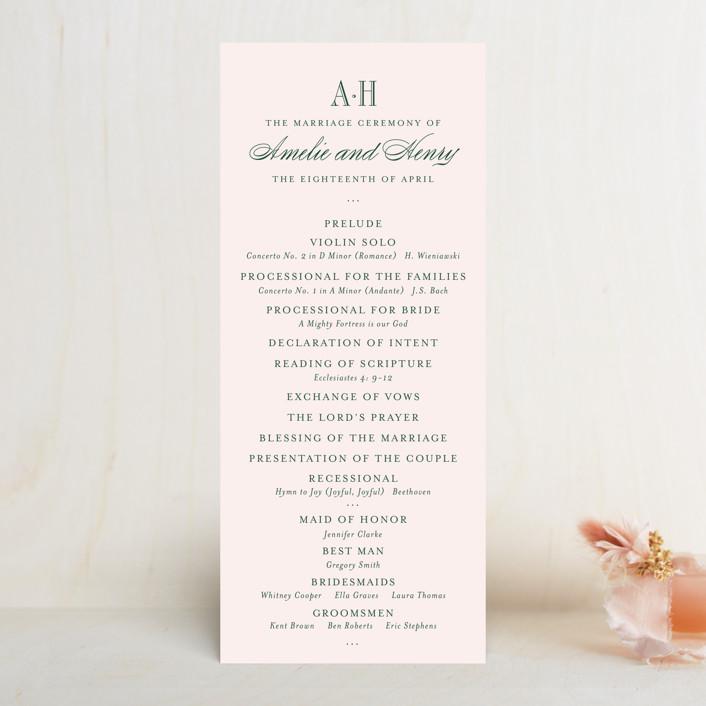 """Hepburn"" - Preppy Unique Wedding Programs in Rose by Toast & Laurel."