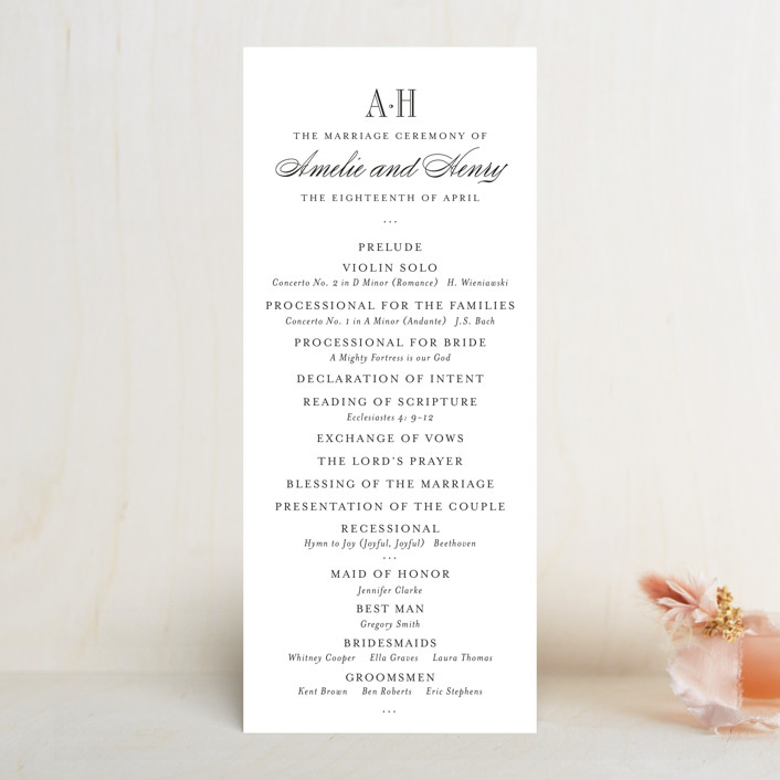 """Hepburn"" - Preppy Wedding Programs in Tuxedo by Toast & Laurel."