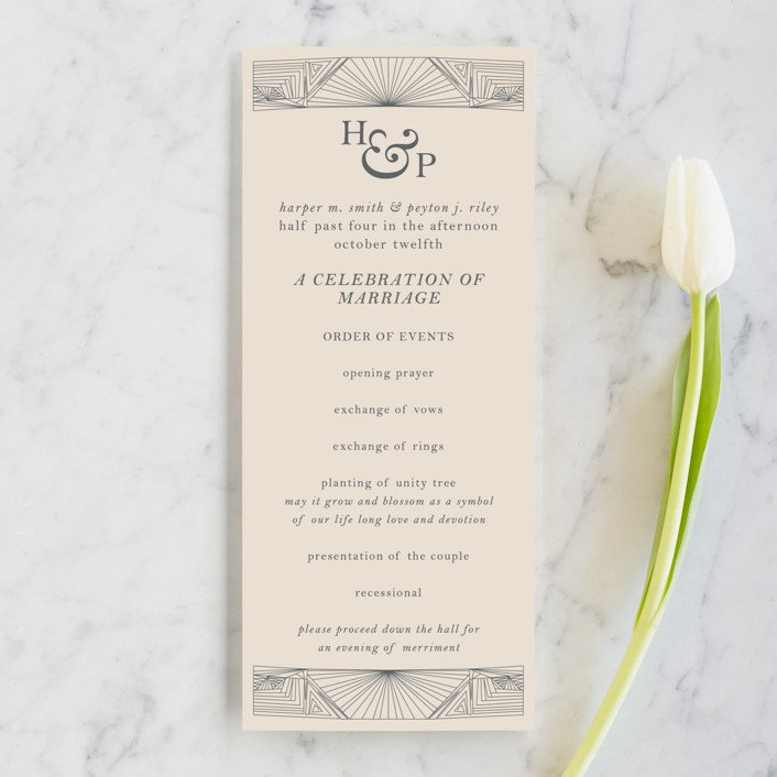 """Art Deco Frame"" - Unique Wedding Programs in Coal by Caitlin Mac."
