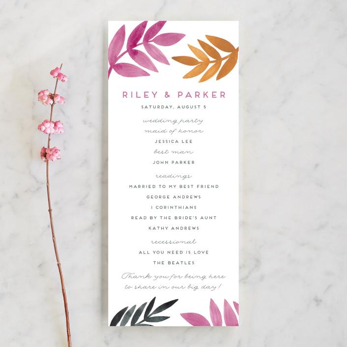 """Bright Leaves"" - Unique Wedding Programs in Fuchsia by Katharine Watson."