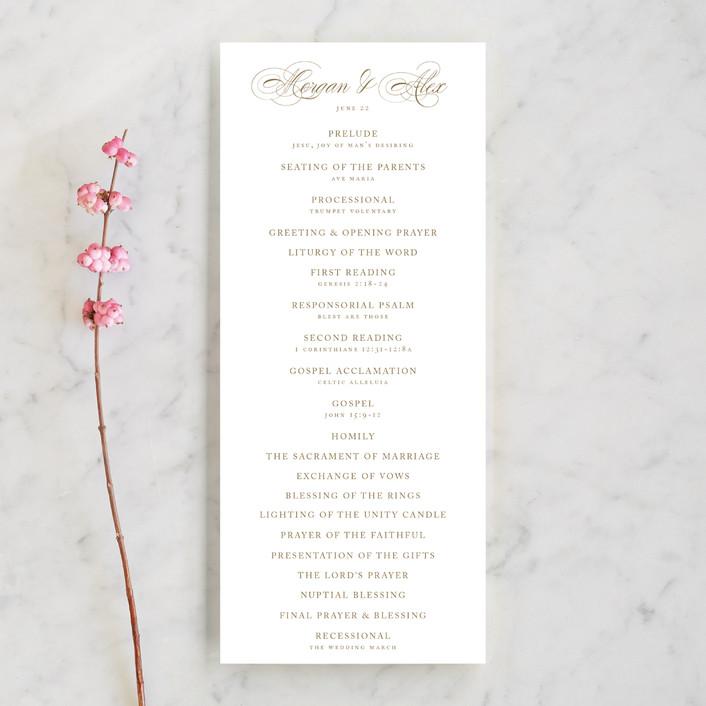 """Aqueous"" - Unique Wedding Programs in Antique Gold by Jennifer Postorino."
