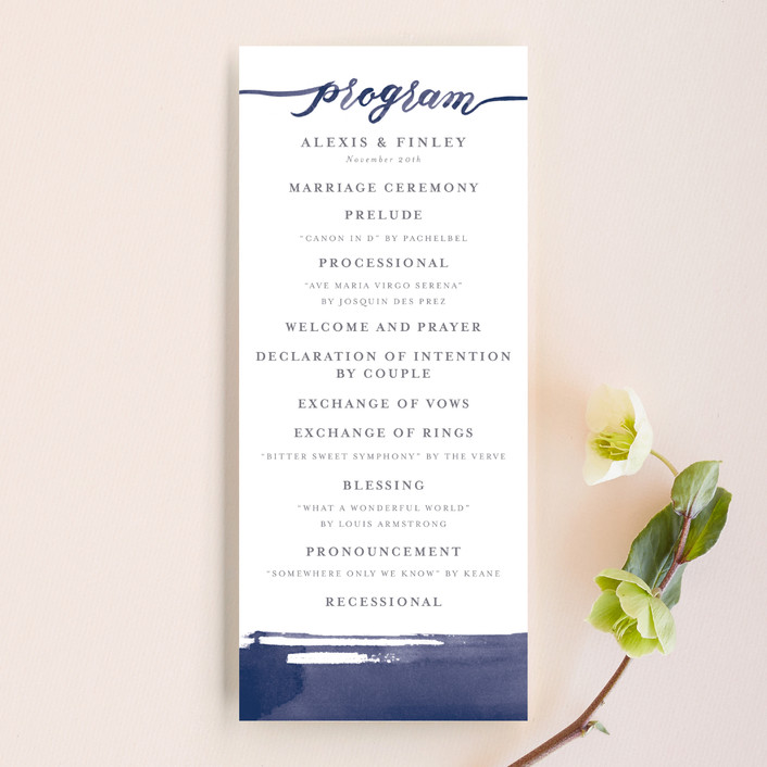 """Love"" - Unique Wedding Programs in Navy by Four Wet Feet Studio."