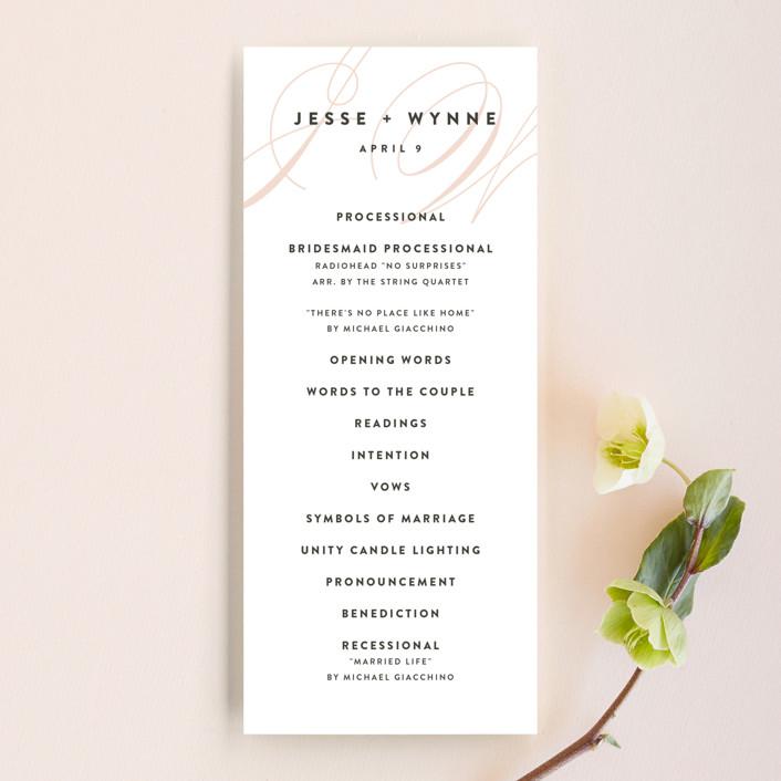 """""""Twirl Monogram A"""" - Wedding Programs in Blush by Ariel Rutland."""