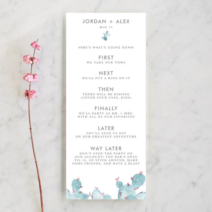 """""""simple cactus watercolor"""" - Unique Wedding Programs in Periwinkle by Ashley Purser."""