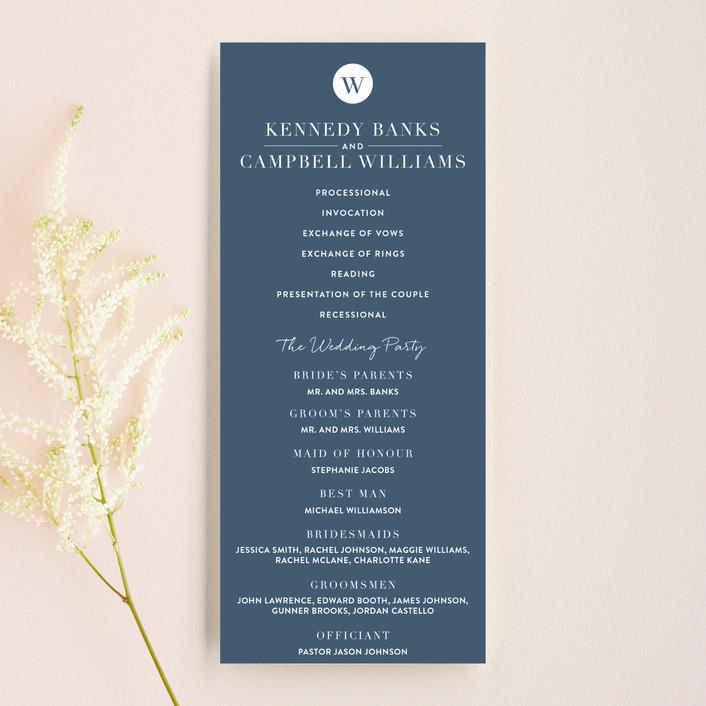 """Wedding Stamp"" - Unique Wedding Programs in Navy by Kasia Labocki."