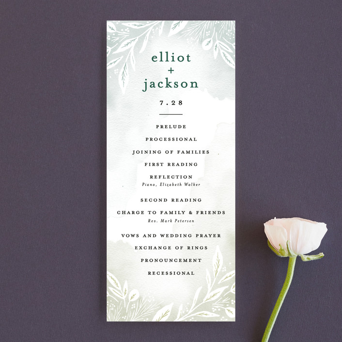 """Dip dyed foliage"" - Unique Wedding Programs in Fresh Green by Alethea and Ruth."