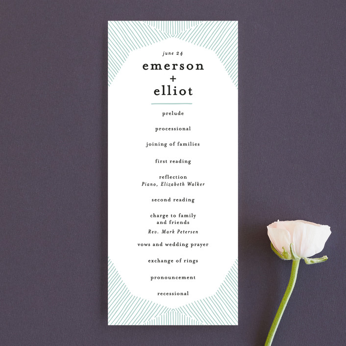"""""""Mod Lines"""" - Unique Wedding Programs in Sea by Alethea and Ruth."""