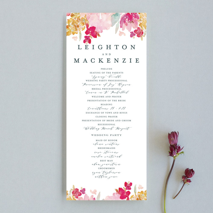 """Spring Garden"" - Wedding Programs in Petal by Grace Kreinbrink."