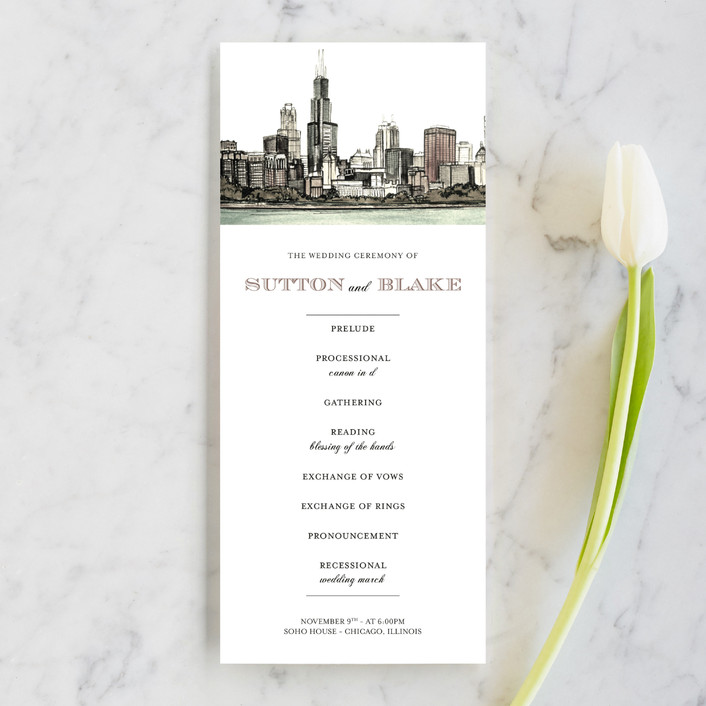 """""""Windy City"""" - Unique Wedding Programs in Antique by Ashley Turner."""
