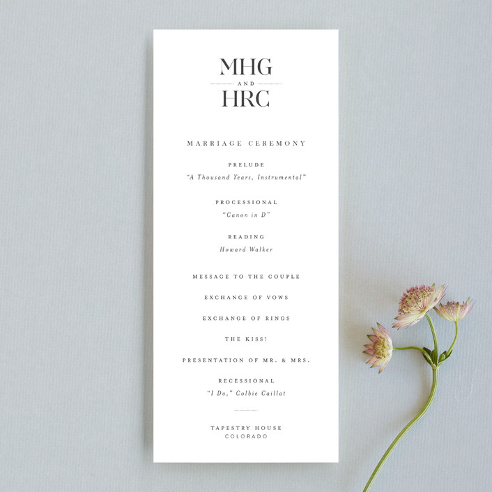 """instilled"" - Unique Wedding Programs in Pearl by Design Lotus."