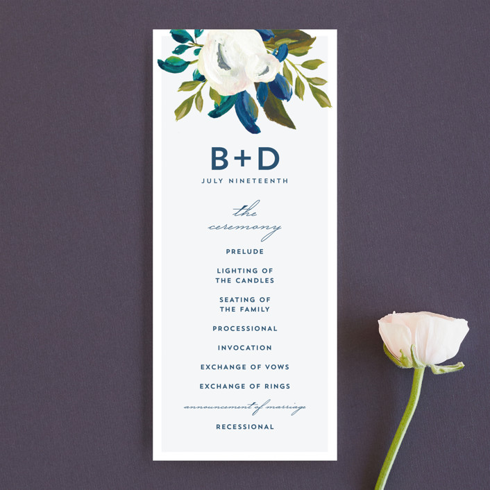 """""""Our Something Blue"""" - Unique Wedding Programs in Ocean by AK Graphics."""