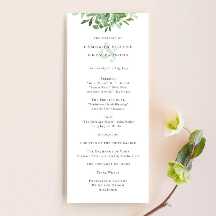 """Leafy ampersand"" - Unique Wedding Programs in Mint Leaf by Jennifer Wick."