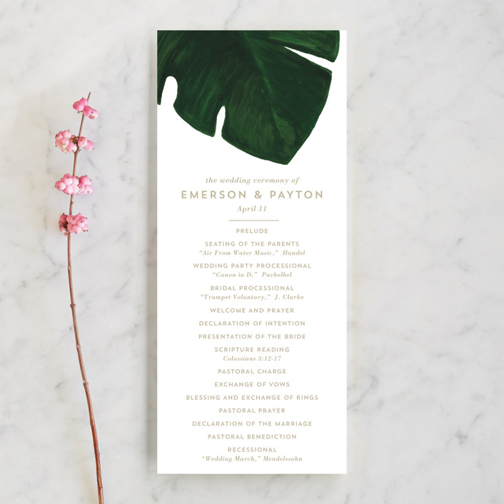 """""""Palm"""" - Unique Wedding Programs in Classic Palm by Kaydi Bishop."""