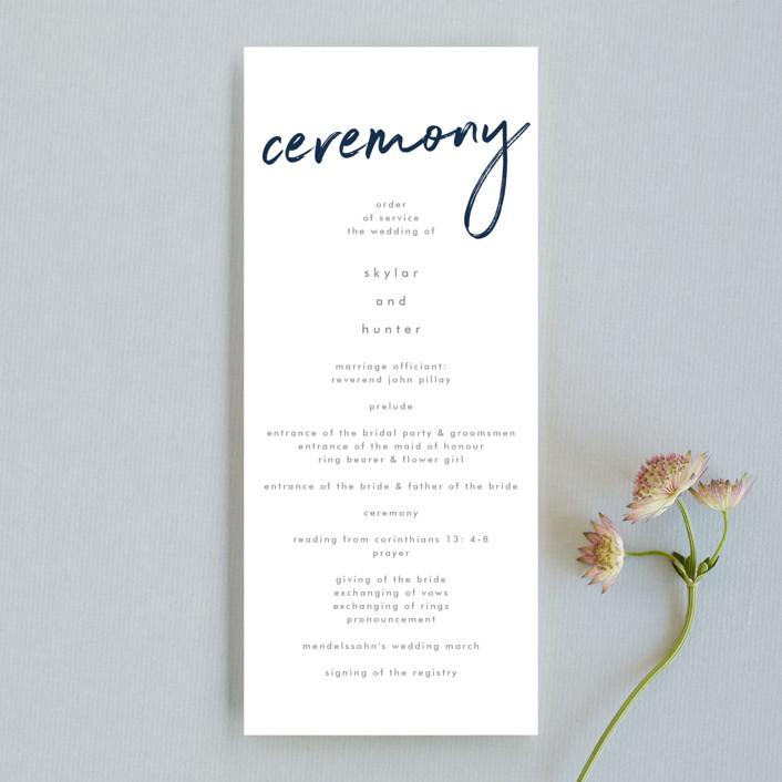 """Funky Names"" - Unique Wedding Programs in Navy by Phrosne Ras."