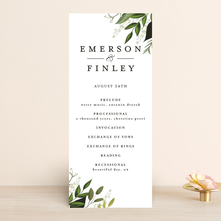 """Vines of Green"" - Unique Wedding Programs in Fern by Susan Moyal."