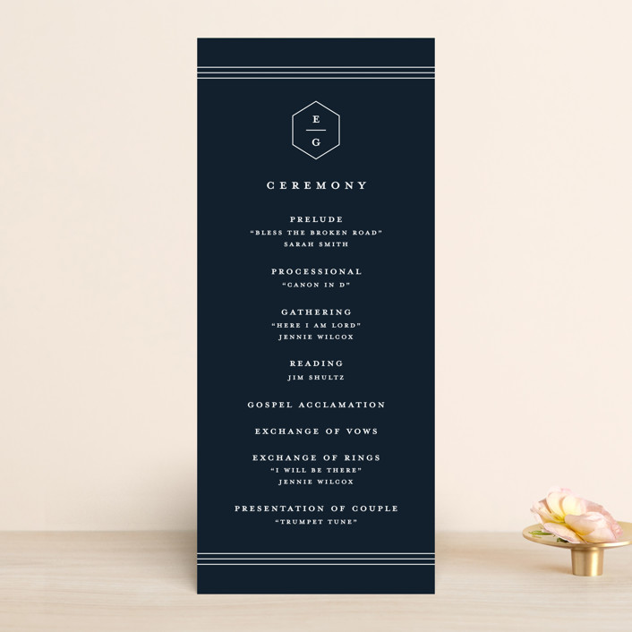 """Next Adventure"" - Unique Wedding Programs in Navy by Stacey Meacham."