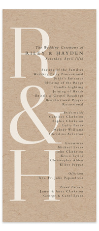 This is a brown Wedding Programs by Lea Delaveris called over and over with Standard printing on Signature in Classic Flat Card format. This simple yet elegant design is type driven, featuring the bride's and groom's initials and an ampersand ...