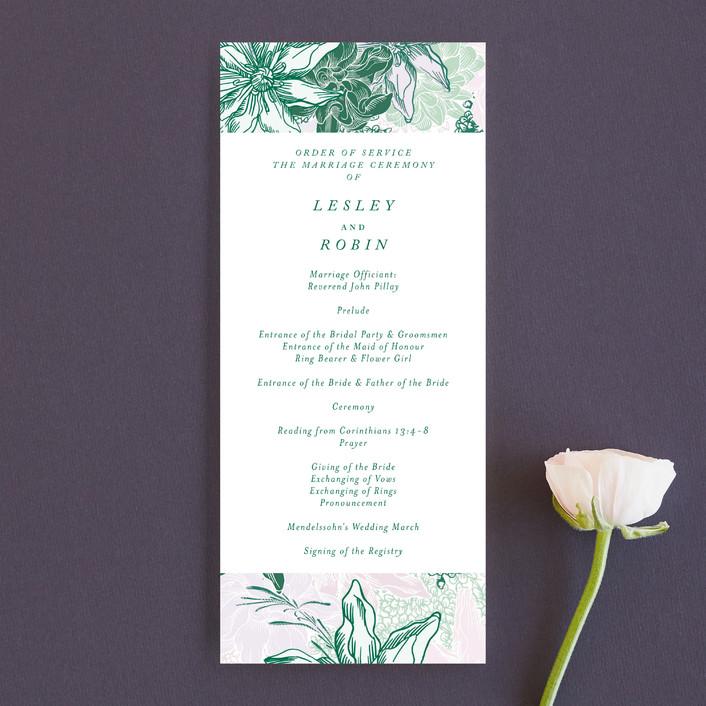 """hand drawn garden"" - Unique Wedding Programs in Navy by Phrosne Ras."