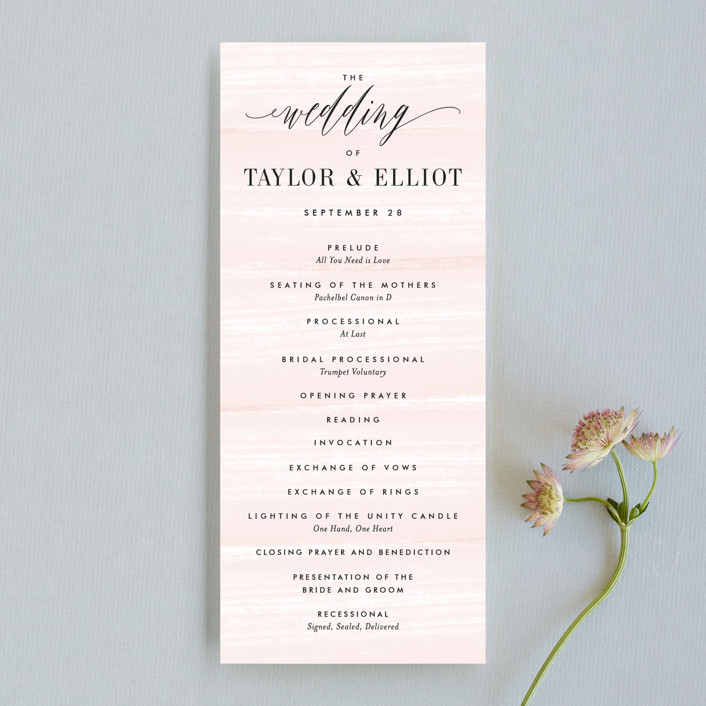 """Effervescent"" - Unique Wedding Programs in Blush by Kristie Kern."