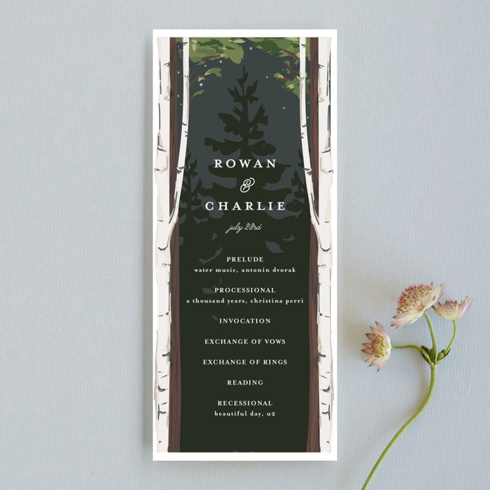 """Enchanted Forest"" - Unique Wedding Programs in Amaranth by Susan Moyal."