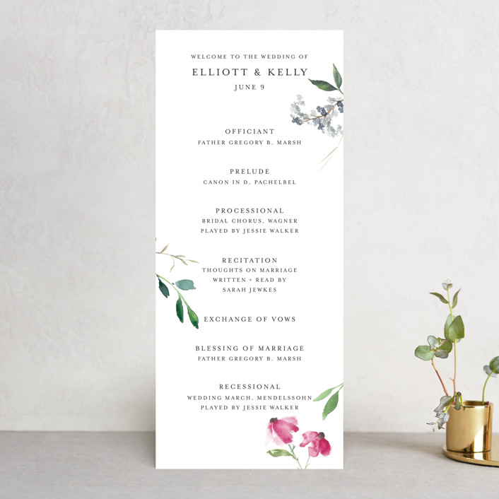 """Spring Wildflowers"" - Wedding Programs in Pink Floral by Mere Paper."