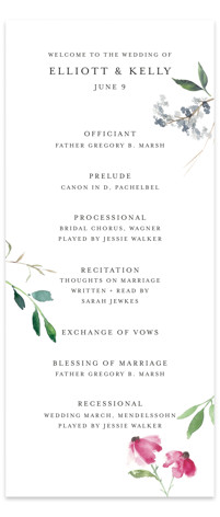 Spring Wildflowers Wedding Programs
