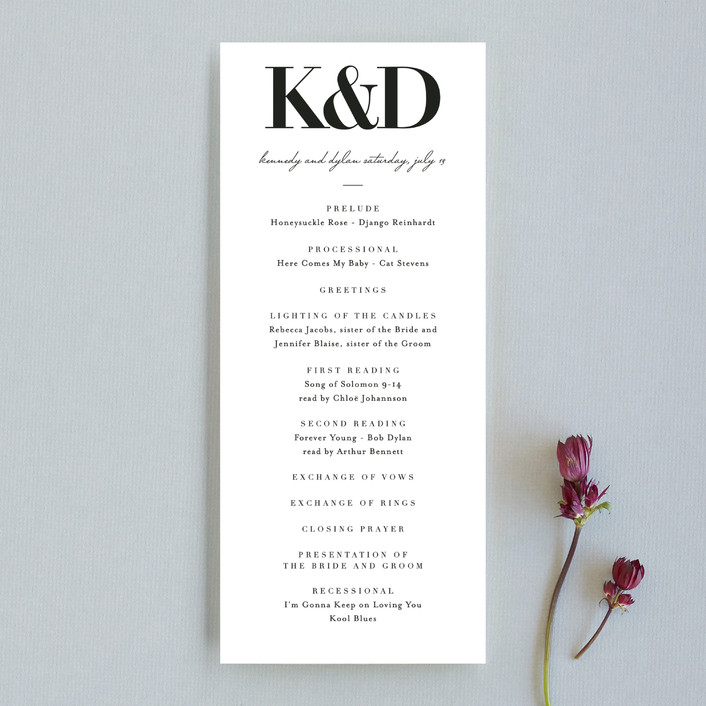 """The Minimalist"" - Wedding Programs in Pearl by Kelly Schmidt."