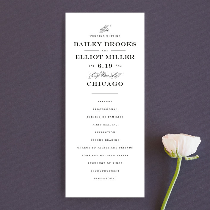 """Downtown"" - Wedding Programs in Onyx by Lauren Chism."