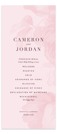 Centifolia Rose Wedding Programs