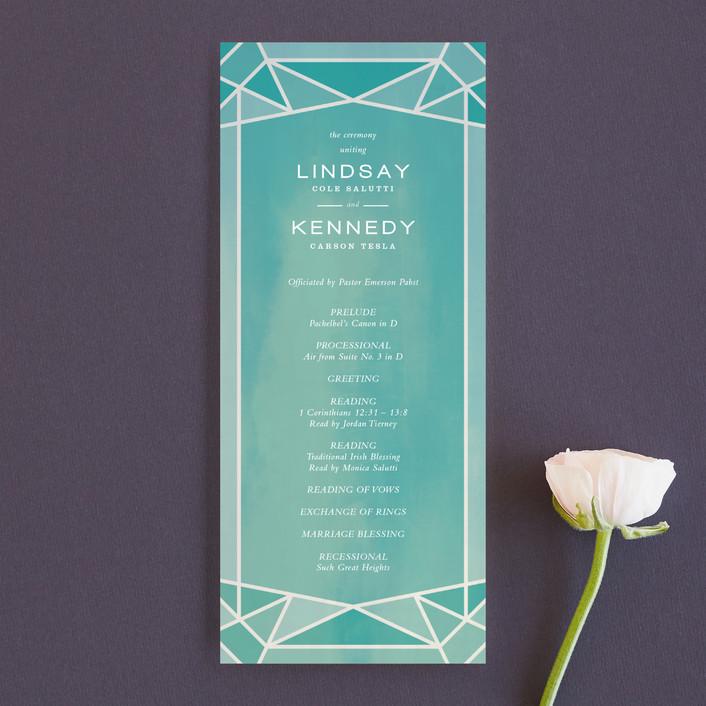"""Radiant Cut"" - Unique Wedding Programs in Aquamarine by Up Up Creative."