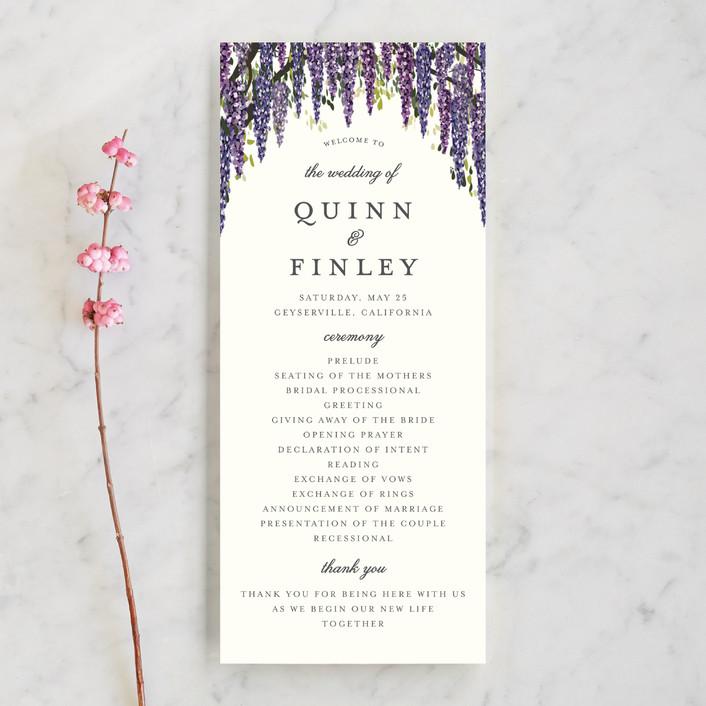 """""""Wisteria Blooms"""" - Unique Wedding Programs in Grape by Susan Moyal."""