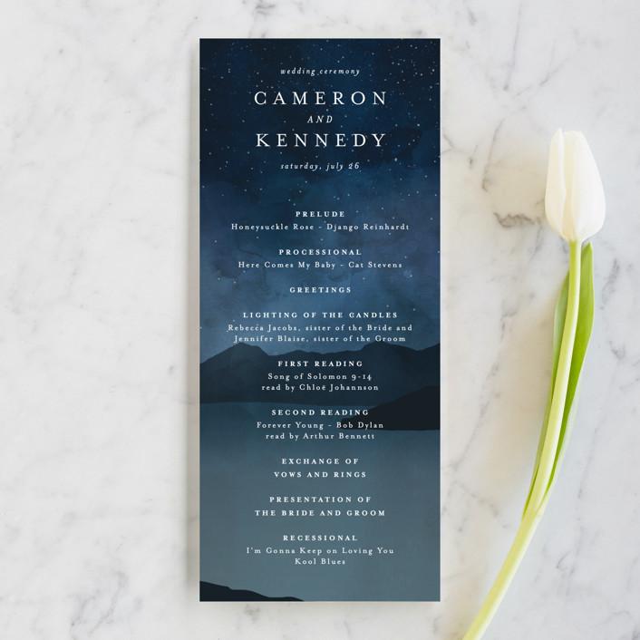 """Coastal Nights"" - Unique Wedding Programs in Midnight by Kelly Schmidt."