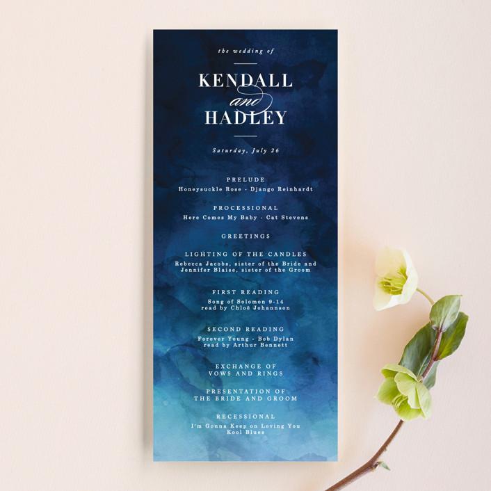 """""""Indigo Sea"""" - Wedding Programs in Ocean by Kelly Schmidt."""