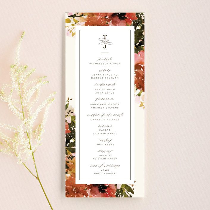 """Eden"" - Unique Wedding Programs in Poinsettia by Lori Wemple."