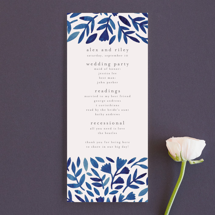 """""""Wildflower Floral"""" - Unique Wedding Programs in Navy by Katharine Watson."""