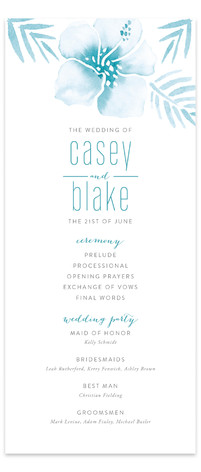 Tropical Hibiscus Wedding Programs