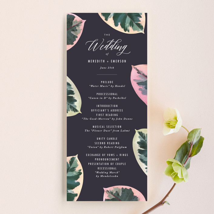 """Painterly Plant"" - Wedding Programs in Midnight by Hooray Creative."