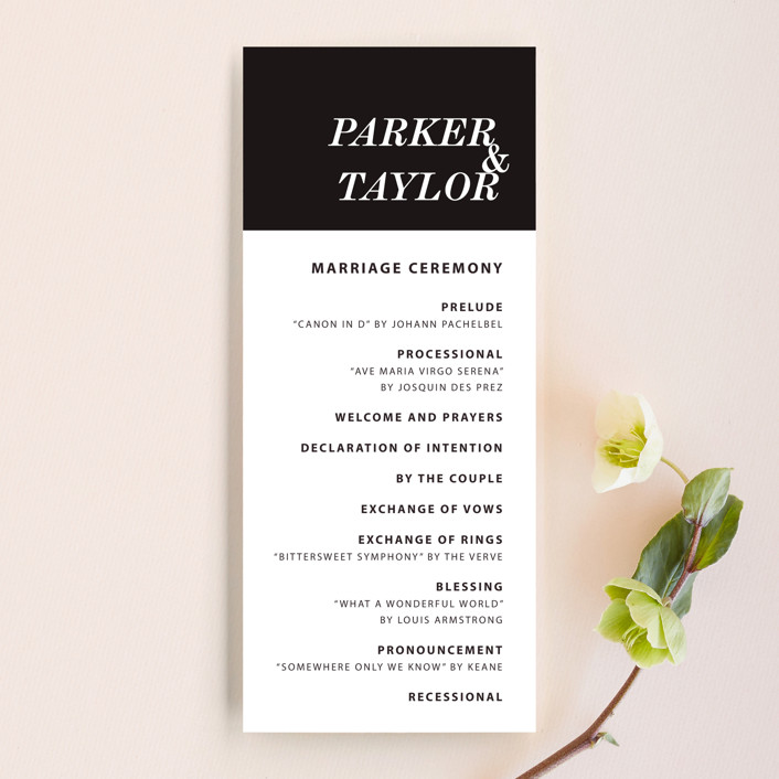 """Slanted"" - Wedding Programs in Noir by Drango Design."