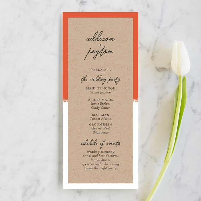 """Joyfully Ever After"" - Modern Wedding Programs in Tangerine by Faiths Designs."