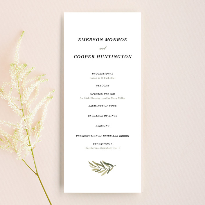 """Olive Branch"" - Wedding Programs in Olive by Wildfield Paper Co."