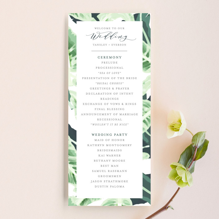"""""""Tropical Wishes"""" - Unique Wedding Programs in Palm by Haley Warner."""