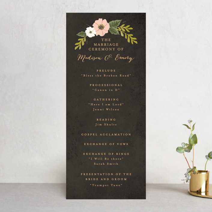 """Floral Ring"" - Unique Wedding Programs in Charcoal by Karidy Walker."